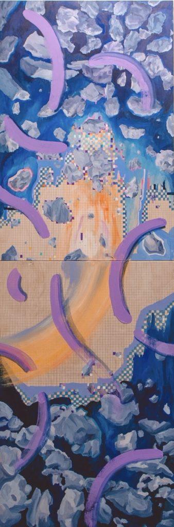 1st Verse / acrylic paintings on wood/ 200 x 83 cm / 2020